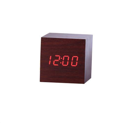 Nouveau Led Numérique en Bois Moderne en Bois Bureau Réveil Thermomètre Calendrier Minuterie Café PL210