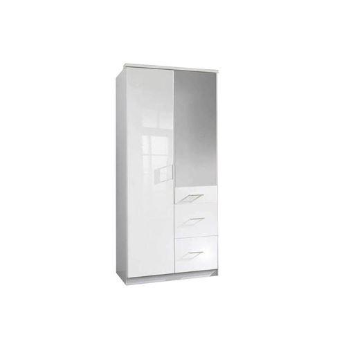 Armoire COOPER 2 portes miroir 3 tiroirs largeur 91 laqué blanc / blanc