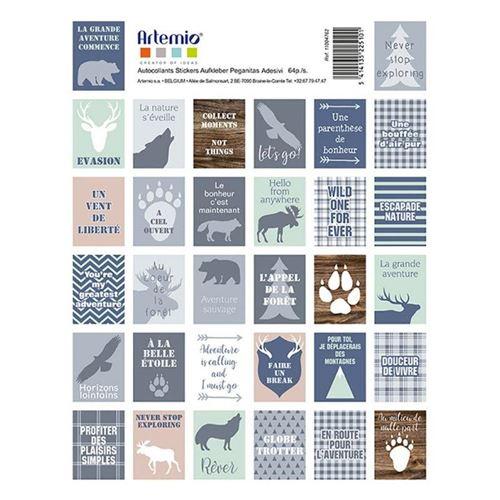 64 stickers effet timbre - Woodland - Artemio