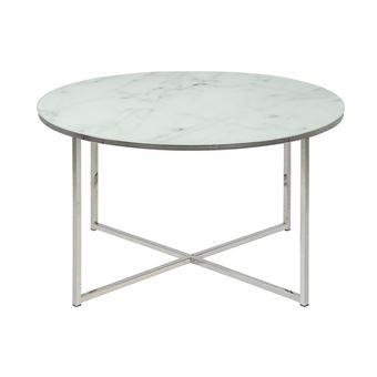 Table Basse Ronde Effet Marbre Blanc Et Pieds En Metal D80 Cm Alcino Achat Prix Fnac