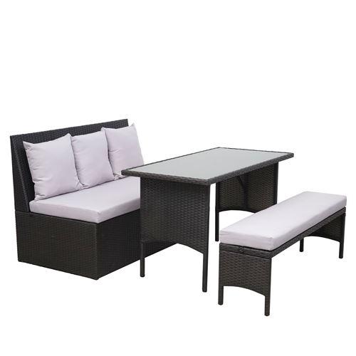 Garniture en polyrotin HWC-G16, jardin, gastronomie, canapé 2 places, table, banc ~ noir, coussin gris clair