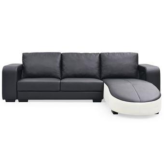 acheter en ligne 1638a 10184 Canapé d'angle en simili cuir Matha Noir et Blanc