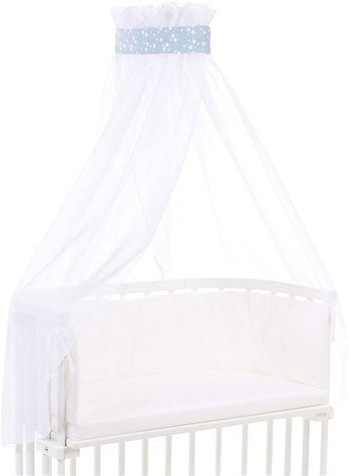 babybay Ciel de Lit en Piqué avec Ruban Convient pour Tous Modèles Bleu Ciel avec Étoiles Blanc 1 Unité