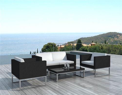 Delorm - Salon de jardin design 4 places en résine noire coussins écru