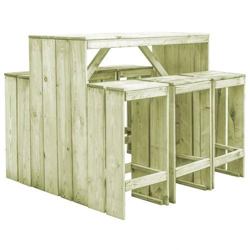 chunhe Mobilier de salle à manger de jardin 7 pcs Pin imprégné AB44901