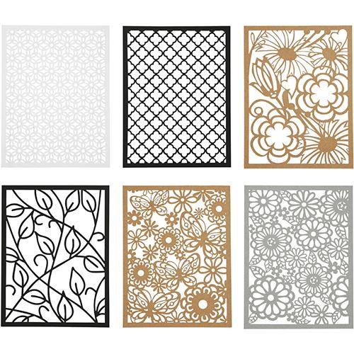 Creotime bloc carton 10,5 x 14,8 cm 6 motifs 4 couleurs noir et blanc