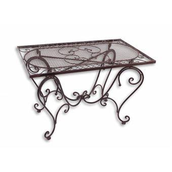 L\'Héritier Du Temps - Table basse rectangulaire fer couleur marron console  desserte table d\'appoint pliable de jardin 50x56x85xcm