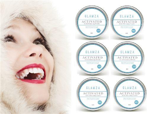White First - 6X Glamza Poudres De Blanchiment Dentaire Au Charbon Actif