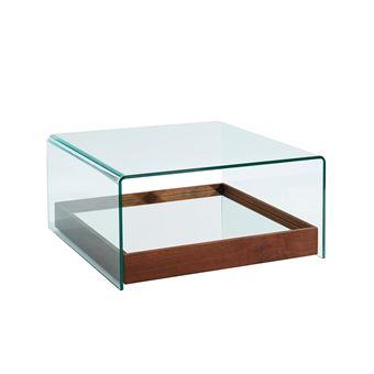 Table Basse Adelia Avec Miroir Verre Trempe Mdf Coloris