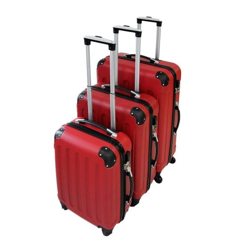 Todeco - Set de Valises, Bagages pour Voyage, 51 61 71 cm, Rouge, Coins protégés, ABS, Matériau: Plastique ABS