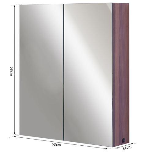Armoire Murale Miroir Salle De Bain Lumineuse Led 8 W 3 étagères Dim