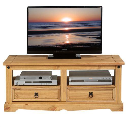 Meuble TV TEQUILA banc télé de 120 cm style mexicain avec 2