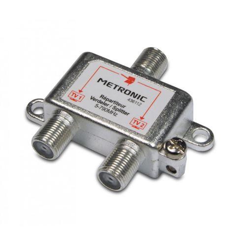 Répartiteur d'antenne TV METRONIC 436112 blindé 2 sorties