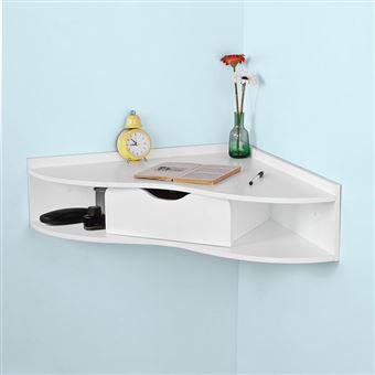 SoBuy FWT26-W Bureau dangle Table Murale avec 1 Tiroir Blanc