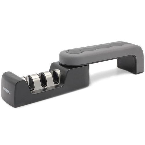 FISHTEC® Aiguiseur de Couteaux Acier, Céramique - 3 Fentes - Affûteur Pliable et Compact