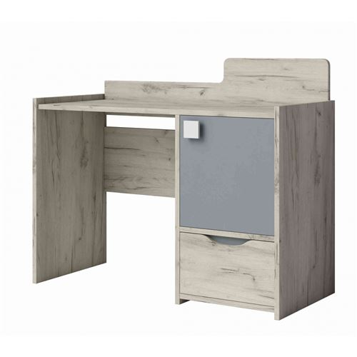 Bureau en bois 1 tiroir 1 porte imitation frêne et gris - BU4025