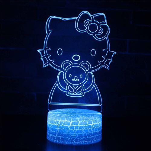Lampe 3D Tactile Veilleuses Enfant 7 Couleurs avec Telecommande - Hello Kitty #590