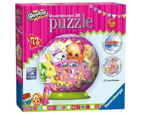 Ravensburger Puzzle 3D Shopkins 72 Pièces Diamètre 13 cm 6-10 ans, jouet, jeux de société