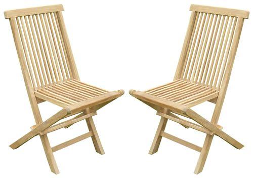Lot de 2 chaises pliantes JENAE Teck Premium