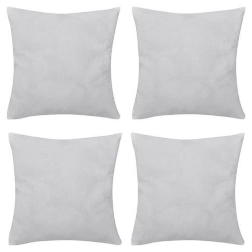 4 Taies d'oreiller Blanc en coton 80 x 80 cm