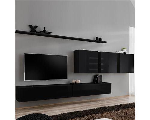 Meuble télé suspendu noir ANSELMO 4-L 340 x P 40 x H 150 cm- Noir
