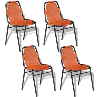 Vidaxl 4x Chaise De Salle A Manger Marron Cuir Veritable Chaises De