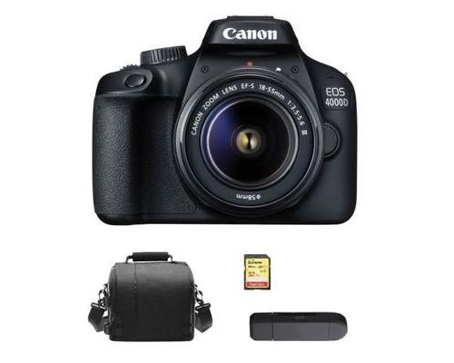 CANON EOS 4000D KIT EF-S 18-55MM F3.5-5.6 III + 32GB SD card + camera Bag + Memory Card Reader