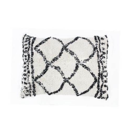 coussin berbere losange - 40 x 60 cm - beige et noir