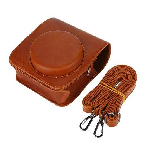 Housse de protection en cuir PU pour Fujifilm Instax Mini 90 avec bandoulière (Marron)
