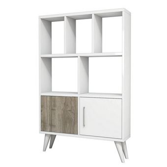 Homemania Bibliothèque Ducky Avec étagères Meuble De Rangement Avec Portes Pour Salon Bureau Blanc En Bois 90 X 22 X 105 Cm