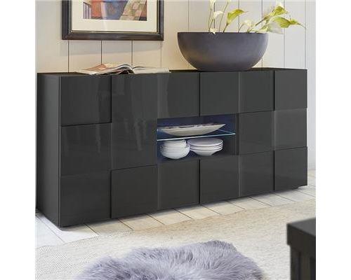 Buffet 2 portes 2 tiroirs gris laqué design SANDREA 2 - L 181 x P 42 x H 84 cm