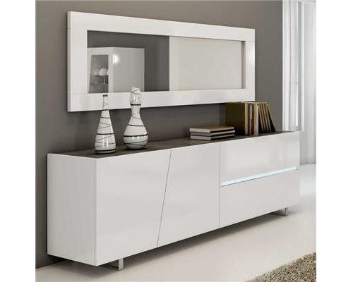 Enfilade design laqué blanc 200 cm LAUREA, 3 portes - 1 tiroir - L 200 x P 50 x H 75 cm
