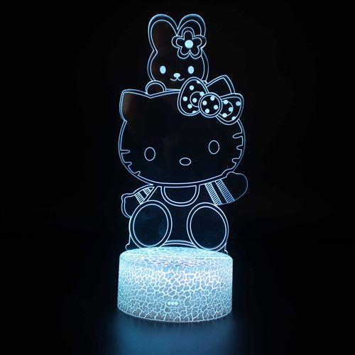 Lampe 3D Tactile Veilleuses Enfant 7 Couleurs avec Telecommande - Hello Kitty #592