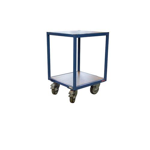 Fimm - Servante d'atelier charge 400 kg 2 plateaux bois medium 600 x 600 mm Ø roues 160 mm sans tiroir