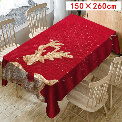 Nappe de Noël Imprimer Rectangle Table Cover Holiday Party Home Decor_Kiliaadk415
