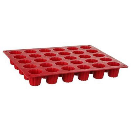 Moule 30 Cannelés Silicone Silipro 28cm Rouge