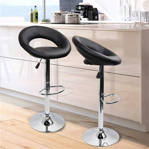 Lot de 4 Tabourets de bar Intimate WM Heart Chaise de bar PU Hauteur réglable Style contemporain Noir