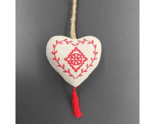 Pompon 10 x 10 cm lin romance Lin/Rouge