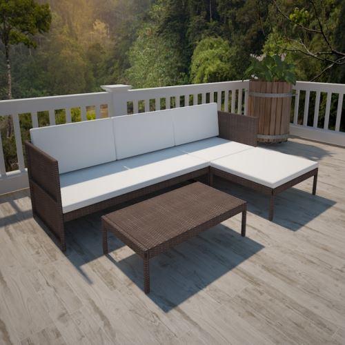 Casasmart - Canapé 3 places d'extérieur avec table polyrotin marron