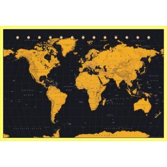 Carte Du Monde Jaune.Poster Encadre Cartes Du Monde Gold World Map 61x91 Cm Cadre Plastique Jaune