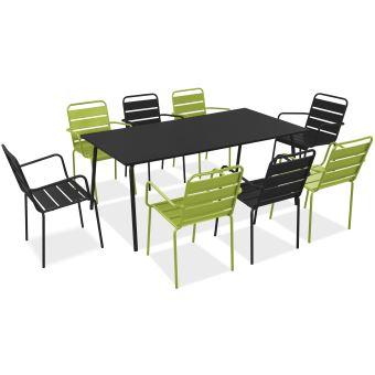 Salon de jardin en métal 1 table et 8 fauteuils, Palavas - Vert ...