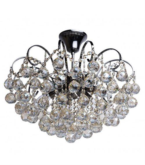 Plafonnier gris Crystal 6 ampoules 49 Cm