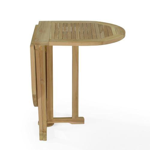 Salon de jardin en teck Ecograde Tahiti, table pliante 120 x 60 cm + 2  chaises Java