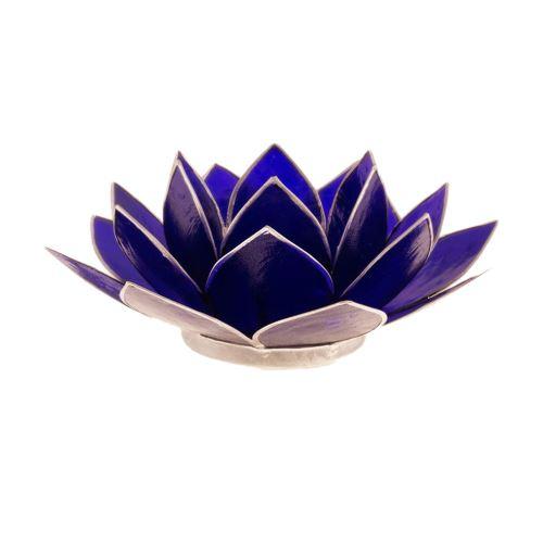 Porte Bougie Fleur de Lotus Bleu foncé et argent 6 ème chakra