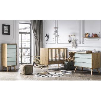 Chambre complète lit bébé 60x120 - commode à langer - chiffonnier Vintage -  Bois Vert