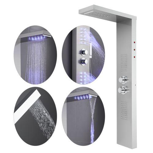 OOBEST® Colonne de douche Avec LED éclairage et hydromassante -Thermostatique - Acier inox 22*45*125cm