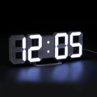 Horloge Digitale Blanche Avec 3 Modes de luminosité