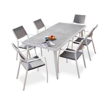 Ensemble 1 table rectangulaire avec 6 fauteuils en metal et ...