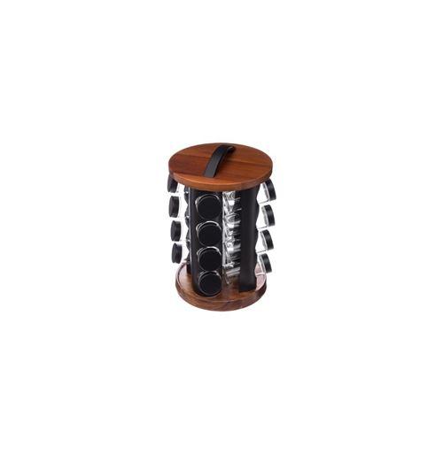 Support à épices + 16 pots à épices - 20 x 31,5 cm - Bois - Noir