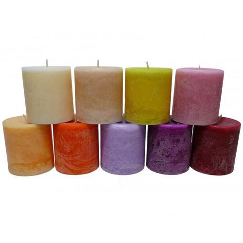 Bougie de Cire Parfumée Fruitée ou Florale Cylindrique pour Photophores ou à Poser 7x7,5x7,5cm